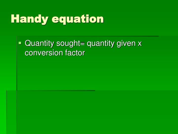 Handy equation