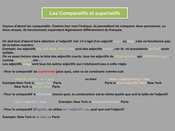 Les Comparatifs et superlatifs
