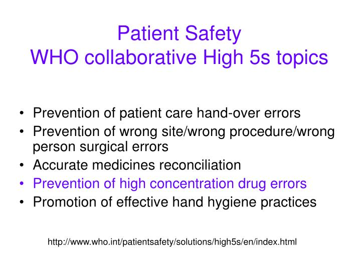 patient safety who collaborative high 5s topics n.