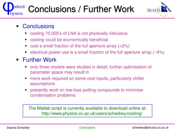 Conclusions / Further Work