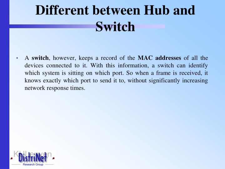 Different between Hub and Switch