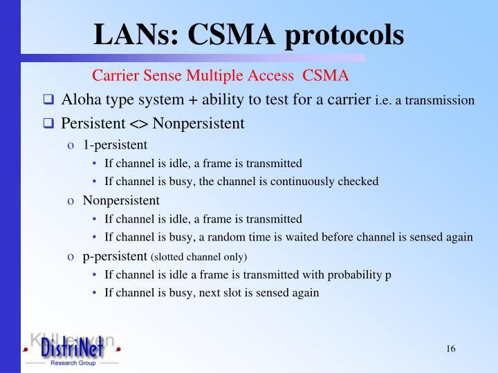 LANs: CSMA protocols