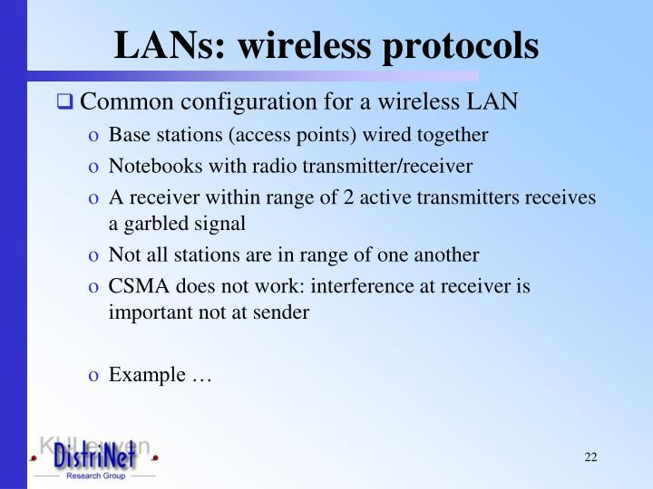 LANs: wireless protocols