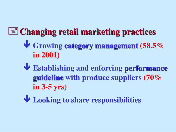 Changing retail marketing practices