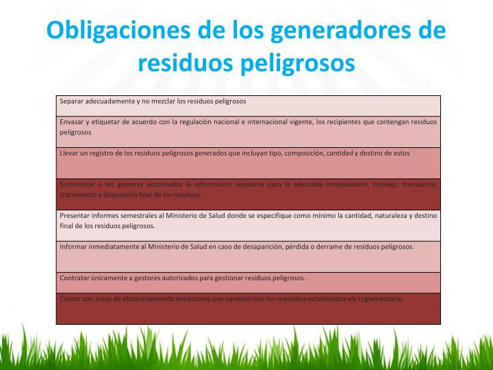 Obligaciones de los generadores de residuos peligrosos