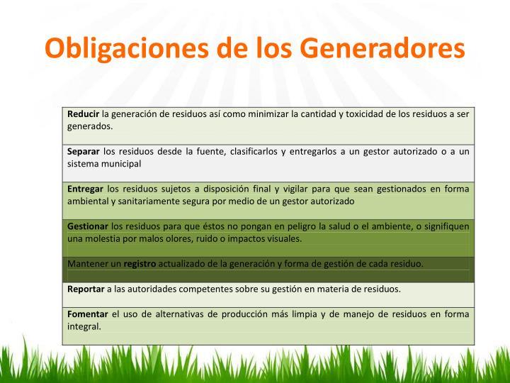 Obligaciones de los Generadores