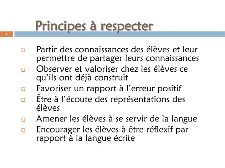 Principes à respecter