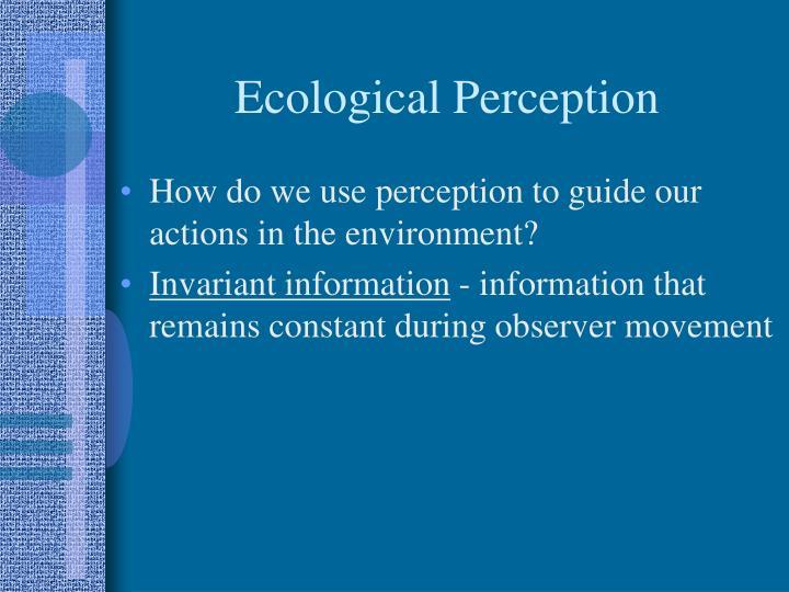 Ecological Perception