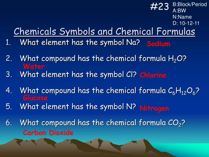 Ppt Chemicals Symbols And Chemical Formulas Powerpoint