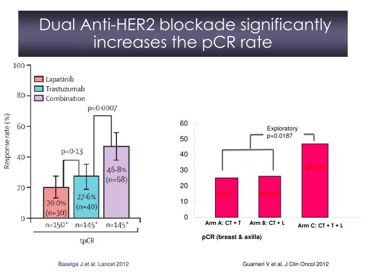 Dual Anti-HER2 blockade significantly increases the pCR rate