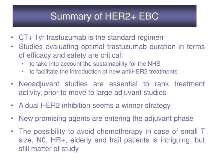 Summary of HER2+ EBC