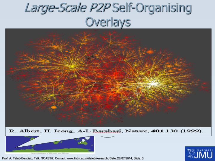 Large scale p2p self organising overlays