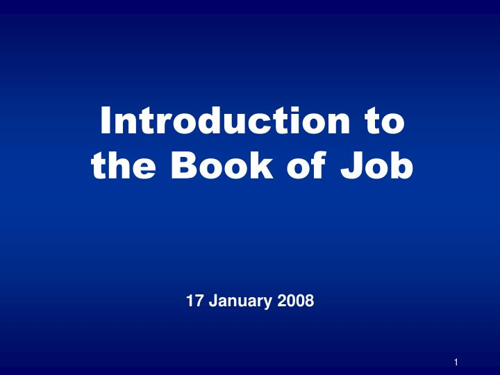introduction to the book of job n.