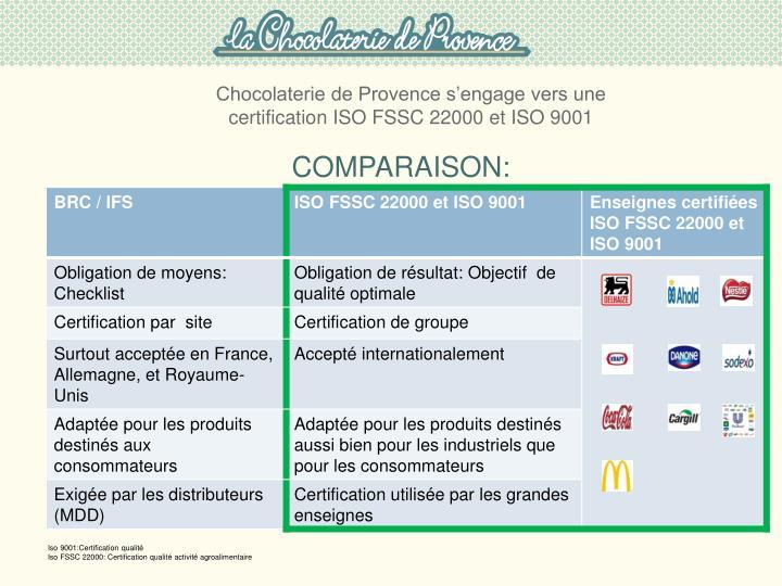 Chocolaterie de Provence s'engage vers une certification ISO FSSC 22000 et ISO 9001