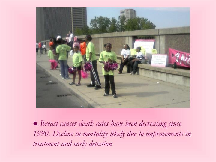 ● Breast cancer death rates have been decreasing since 1990. Decline in mortality likely due to improvements in treatment and early detection