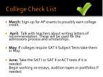 college check list