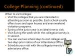 college planning continued