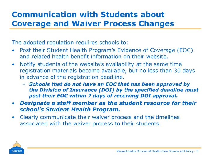 Communication with Students about Coverage and Waiver Process Changes