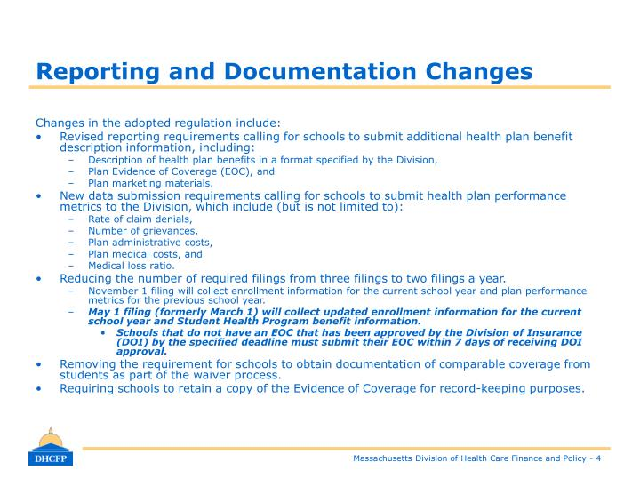 Reporting and Documentation Changes