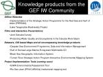 knowledge products from the gef iw community