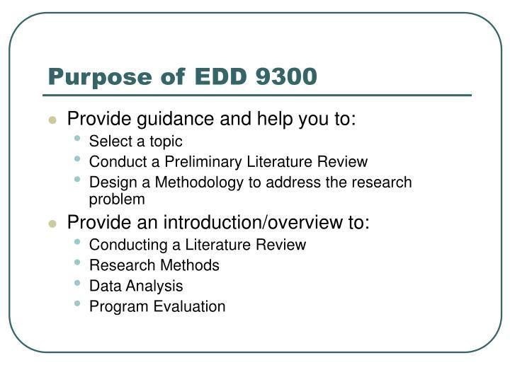 Purpose of edd 9300