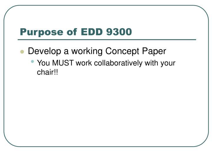 Purpose of edd 93001