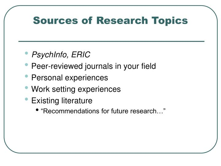 Sources of Research Topics