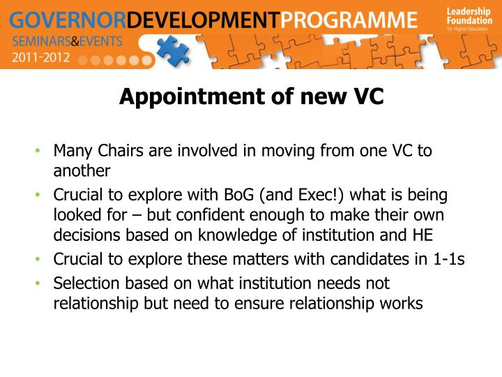 Appointment of new VC