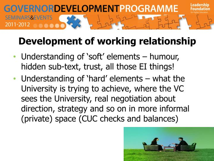 Development of working relationship
