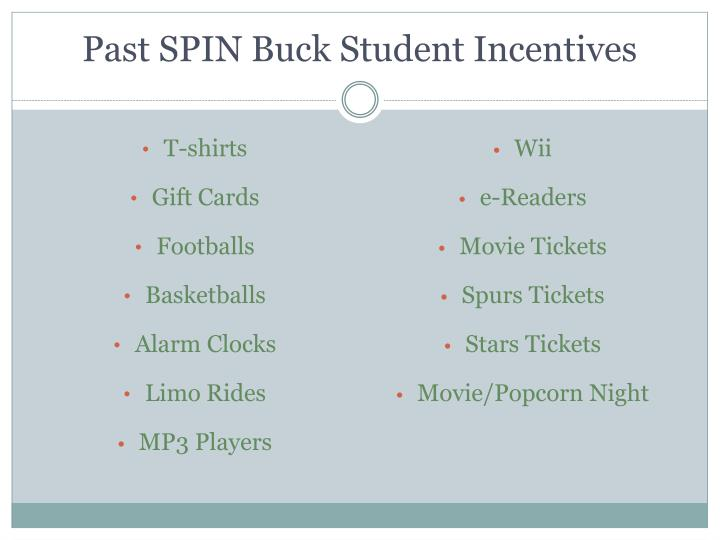 Past SPIN Buck Student Incentives