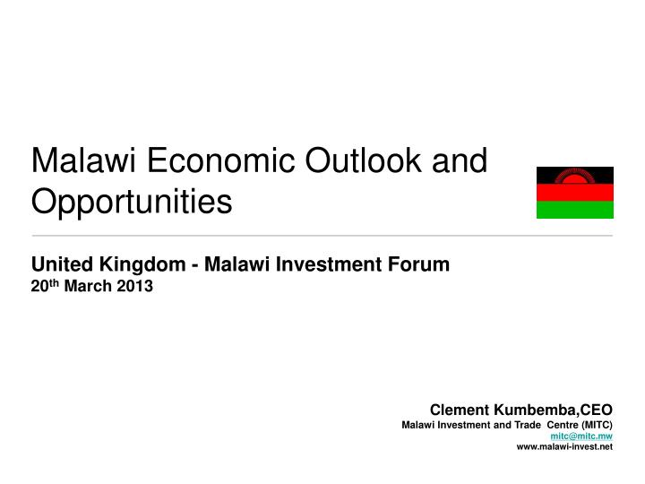 malawi economic outlook and opportunities n.
