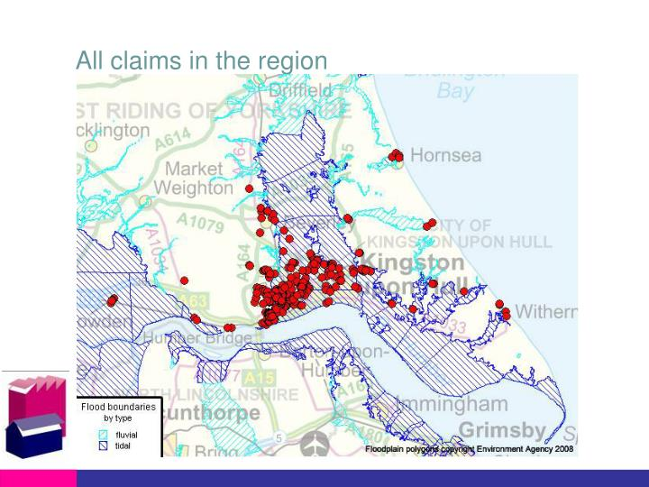 All claims in the region