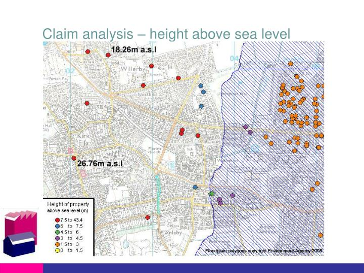 Claim analysis – height above sea level