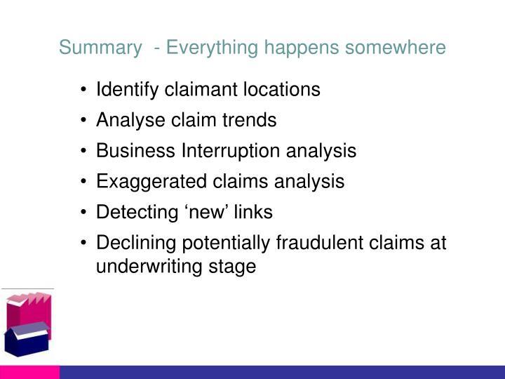 Summary  - Everything happens somewhere