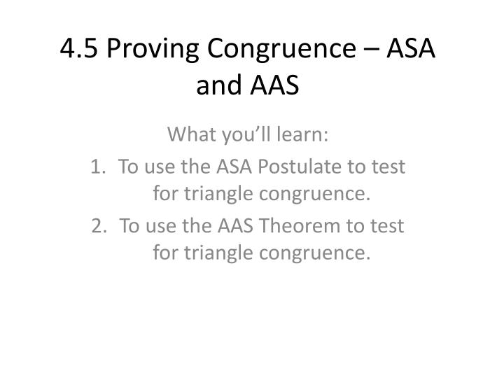 4 5 proving congruence asa and aas n.