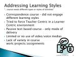addressing learning styles course needs different types or styles of activities