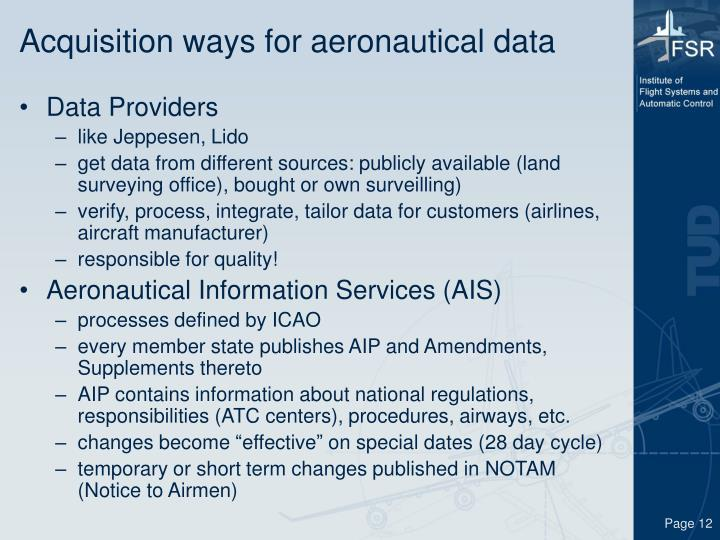 Acquisition ways for aeronautical data