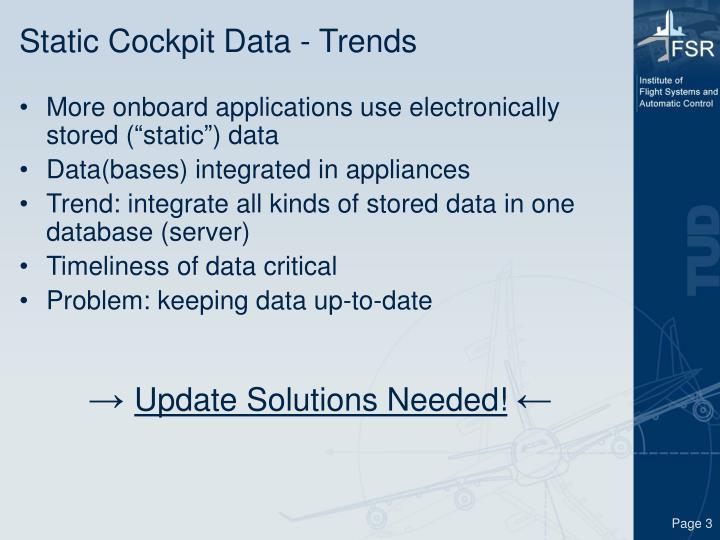 Static cockpit data trends