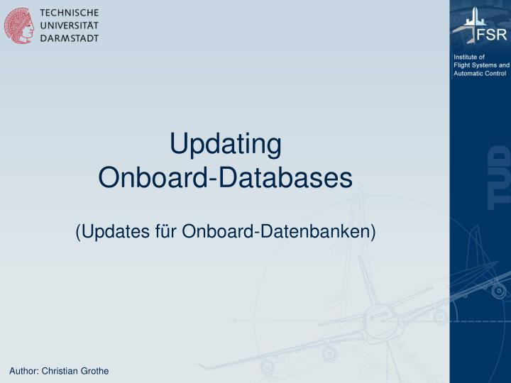 Updating onboard databases