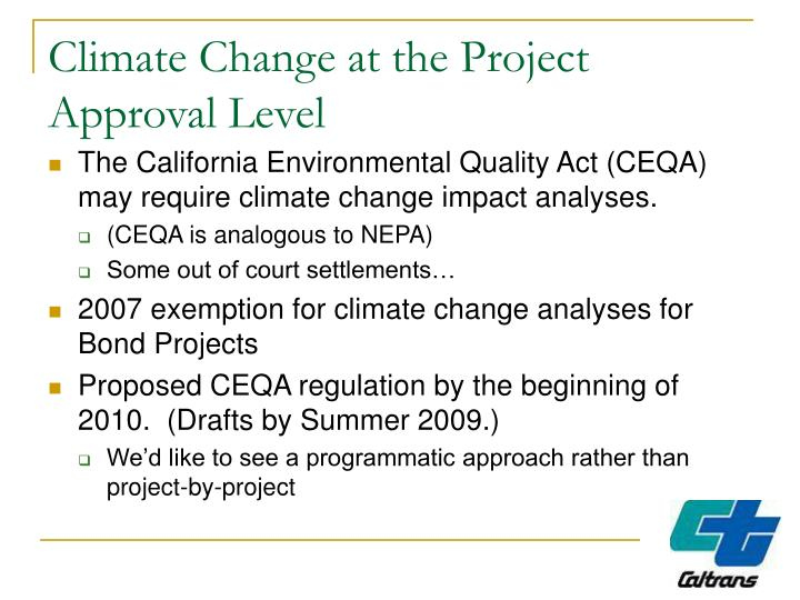 Climate Change at the Project Approval Level