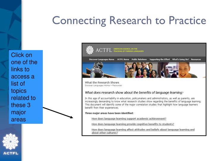 Connecting Research to Practice