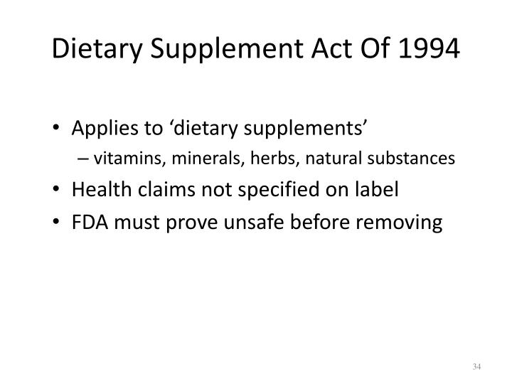 Dietary Supplement Act Of 1994