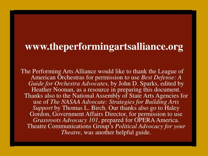 Www theperformingartsalliance org