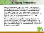 b reading for relaxation