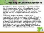 d reading to confront experience