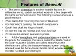 features of beowulf
