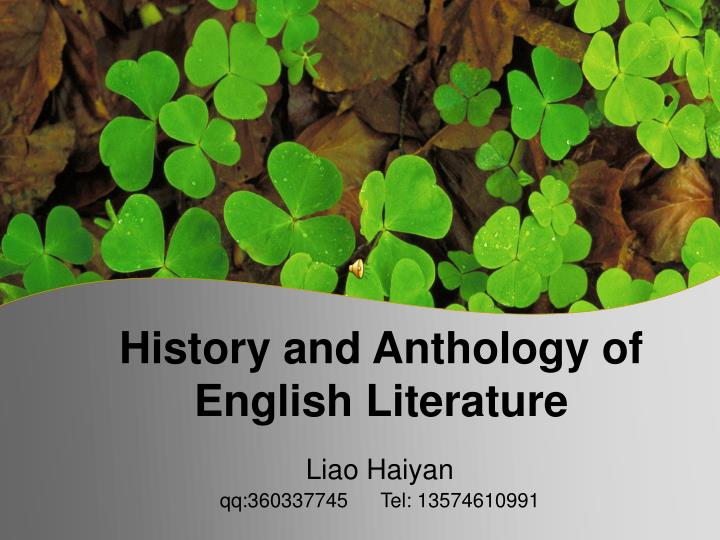history and anthology of english literature n.