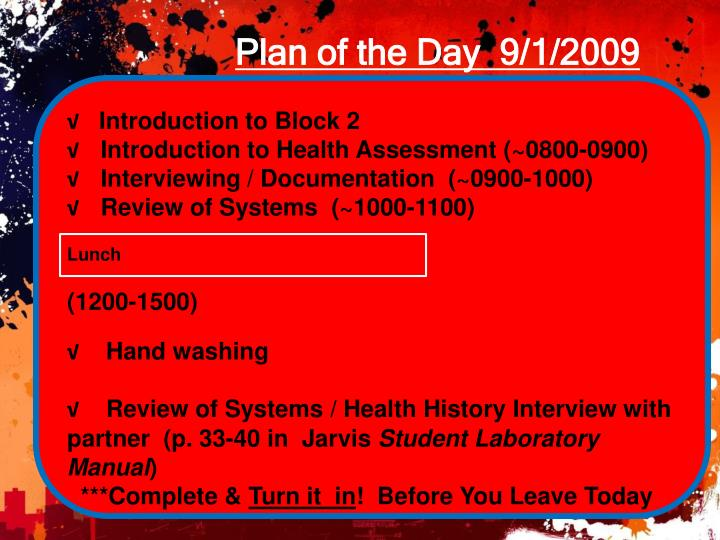 Plan of the day 9 1 2009
