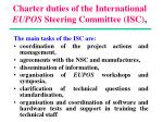 charter duties of the international eupos steering committee isc