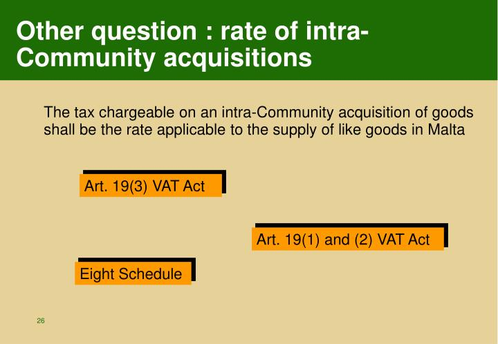 Other question : rate of intra-Community acquisitions